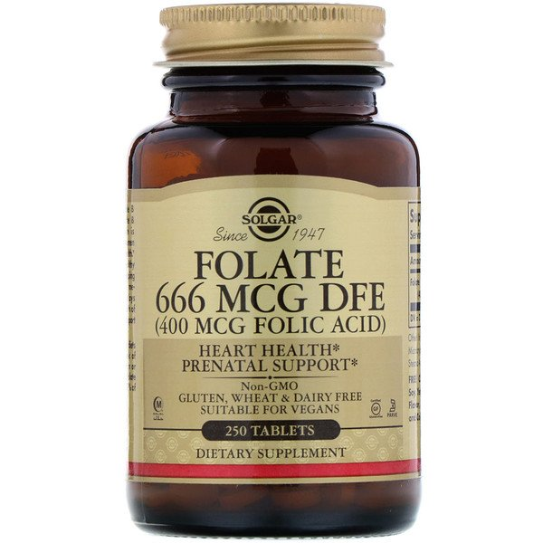 Solgar Folate 666 mcg DFE (Folic Acid 400 mcg) 250 tabs