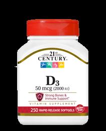 21st Century Vitamin D3 2 000 ME 250 softgels