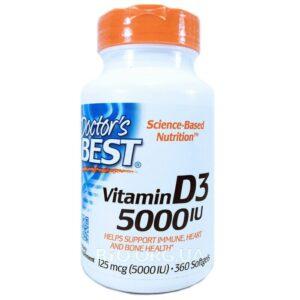 Doctor's Best, Витамин D3, 125 мкг (5000 МЕ), 360капсул